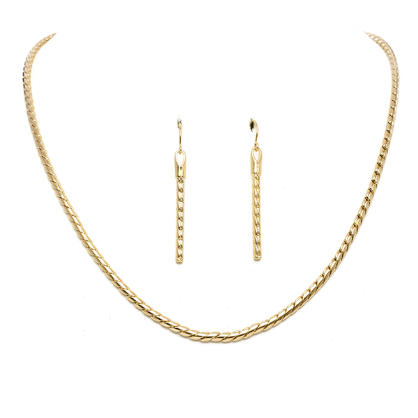 Gold Rope Chain Necklace Set