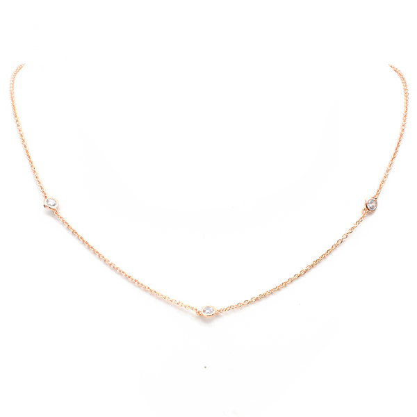 Rose Gold Cubic Zirconia Stations Necklace