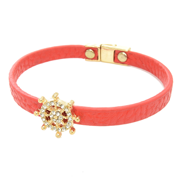 Red Leather Magnetic Clasp Studded Nautical Wheel Bracelet