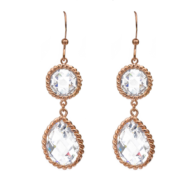 Rose Gold Cubic Zirconia Teardrop Dangle Earrings