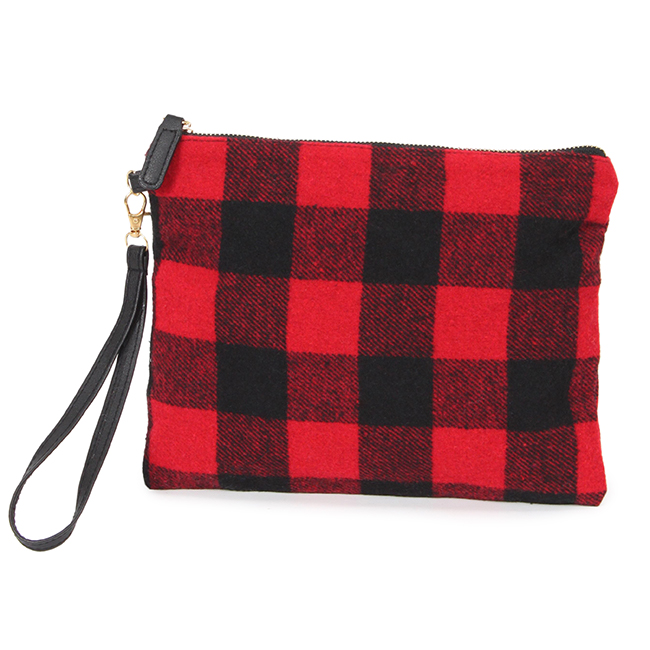 Buffalo Check Plaid Clutch with Wristlet