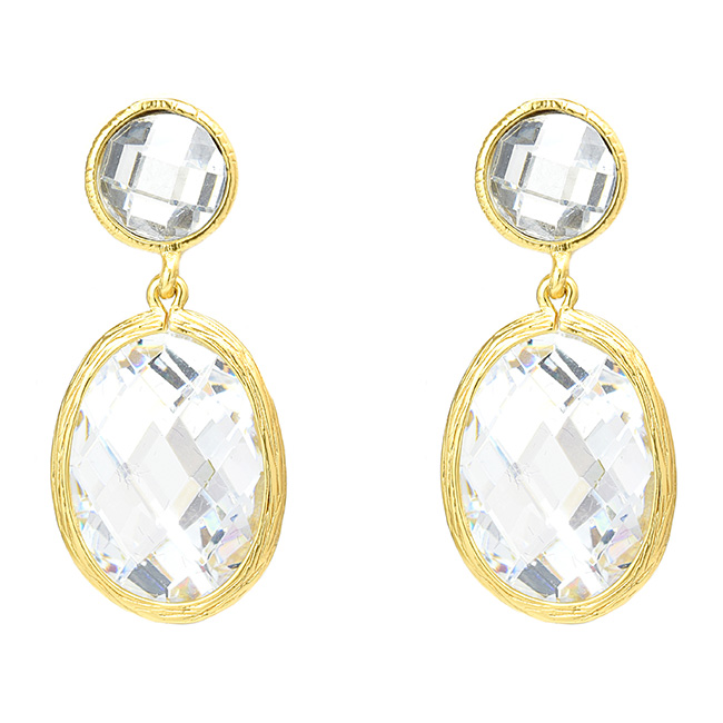 Gold Clear Cubic Zirconia Dangle Post Earring