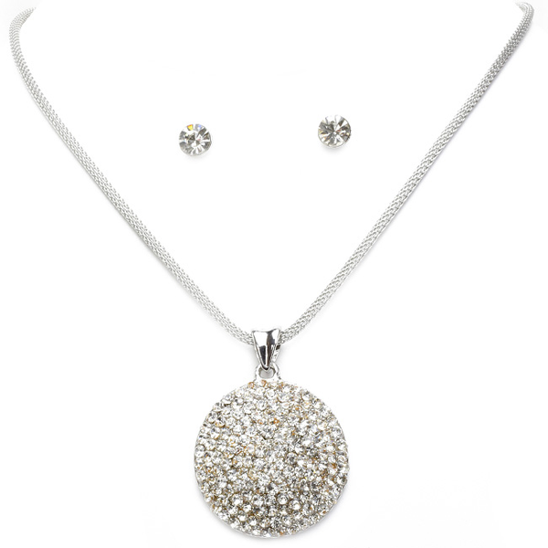Crystal Studded Disc Pendant Necklace