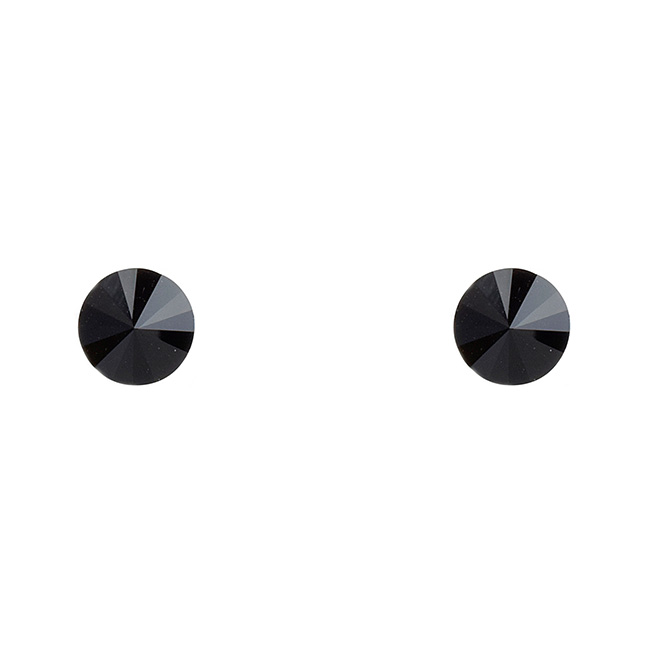 Jet Black Crystal Post Earrings