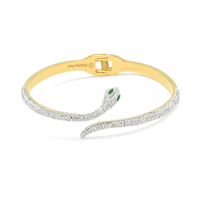 Gold Stainless Steel Gold Cubic Zirconia Snake Cuff Bracelet