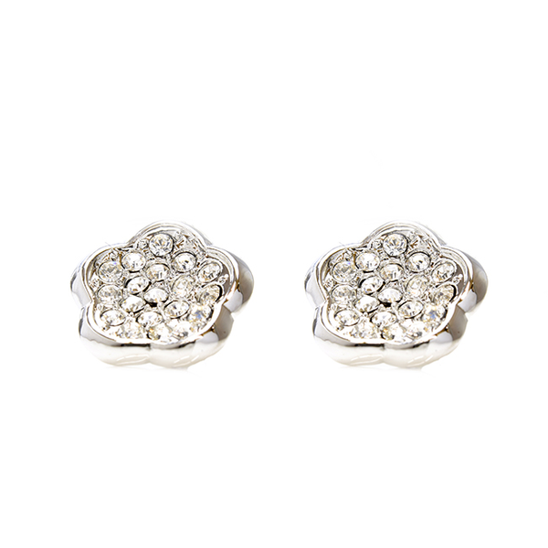 Cubic Zirconia Studded Flower Shape Earrings