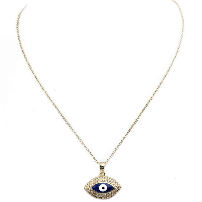 Gold Cubic Zirconia Studded Eye Pendant Necklace
