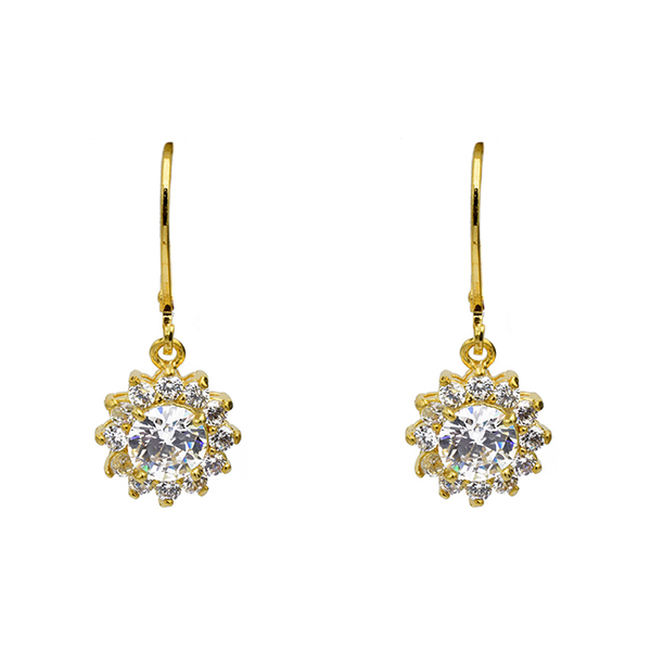 Gold Cubic Zirconia Dangle Flower Earring