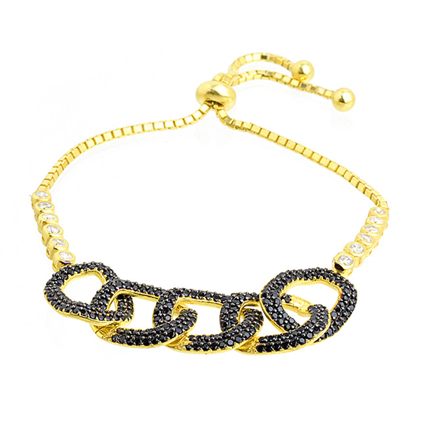 Sterling Silver Gold Plated and CZ Link Chain Bracelet