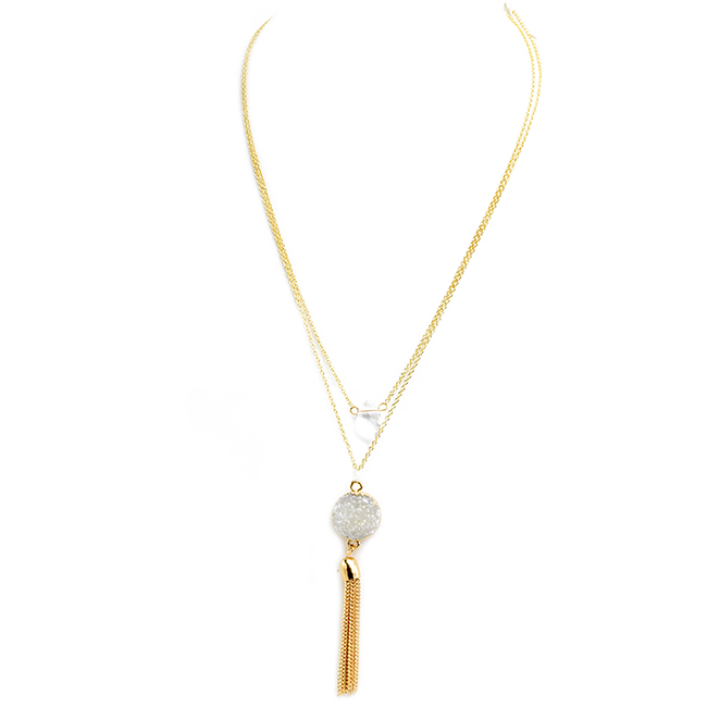Double Layer Druzy and Tassel Pendant Necklace