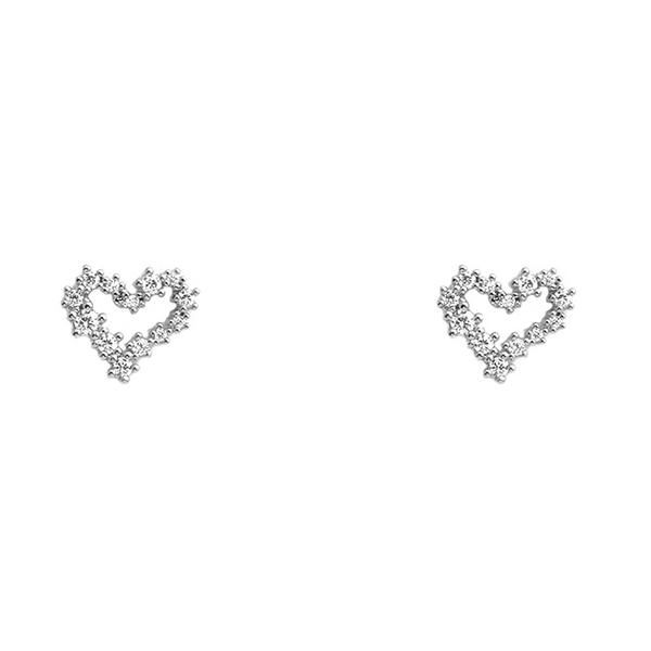 Silver Cubic Zirconia Brass Open Heart Post Earrings