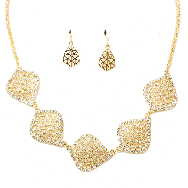 Gold Tone Necklace Set w/ Oval Crystal Stations