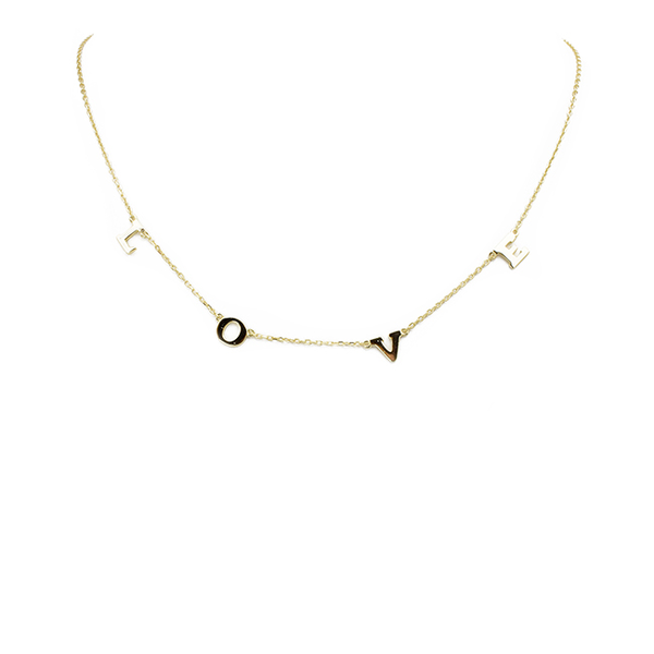 Sterling Silver Gold Love Necklace