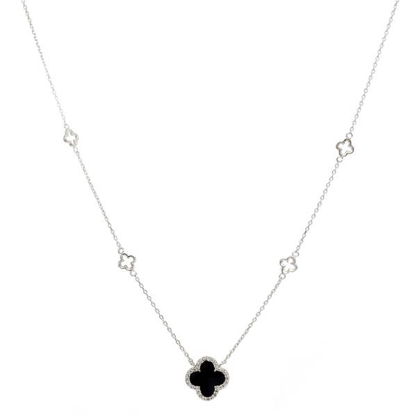 Silver Chain Necklace with CZ & Black Onyx Clover Pendant