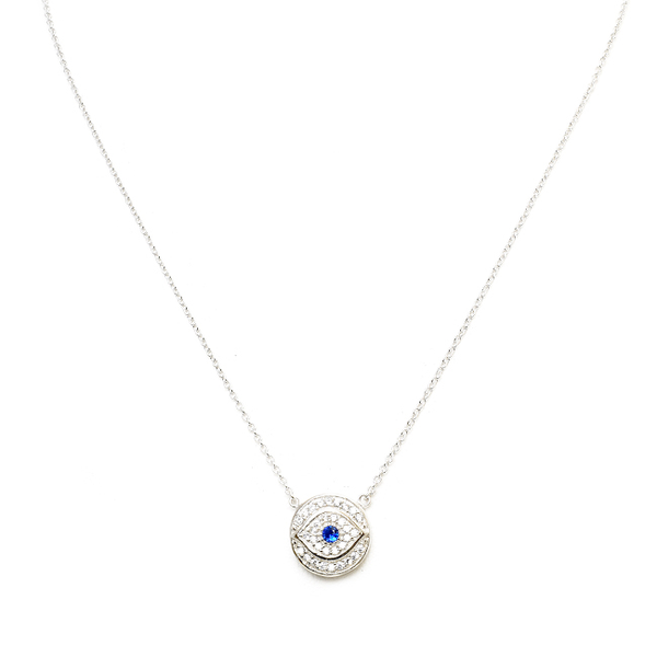 Sterling Silver and Plated Evil Eye CZ Necklace