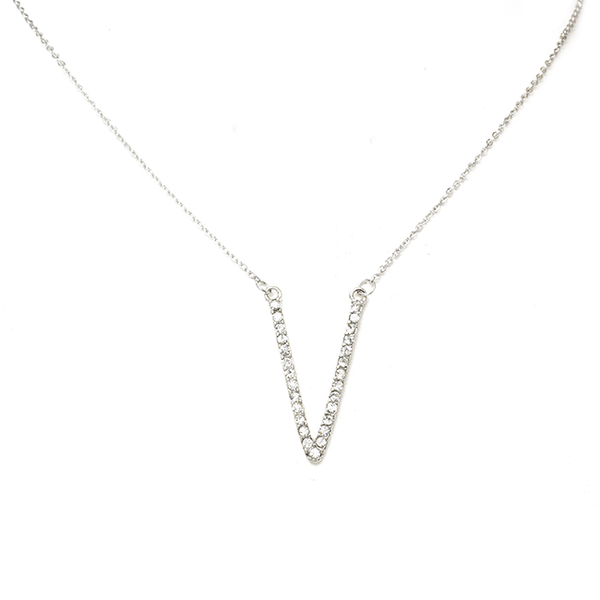 Silver and Crystal Studded V Shape Pendant Necklace