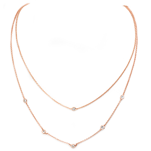 Rose Gold Layered Diamond by the Yard CZ Necklace