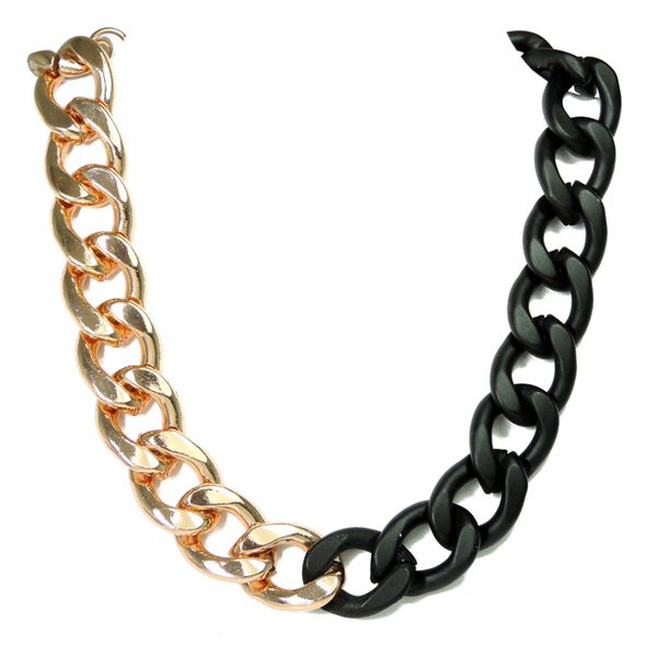 Rose Gold and Black Chunky Chain Necklace