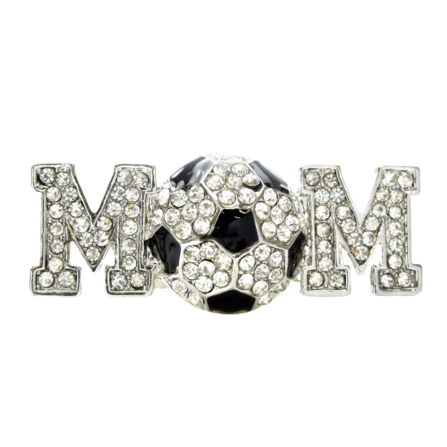 Silver Crystal Studded Soccer Mom Stretch Ring