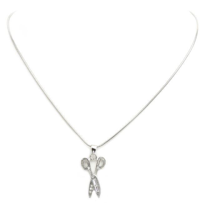 Crystal Scissor Pendant Necklace