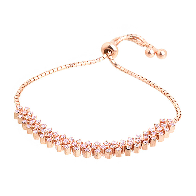 Sterling Silver Rose Gold Plated with Clear Cubic Zirconia Pull Tie Bracelet