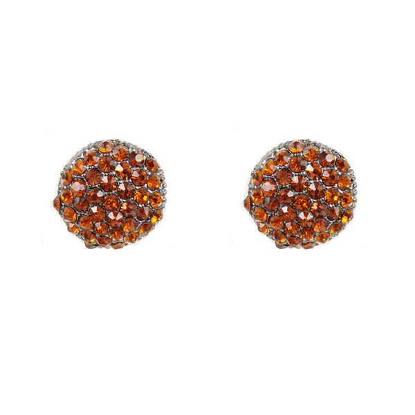 Crystal Pave Round Flat Post Earrings