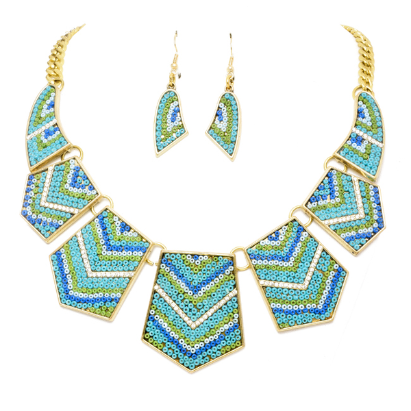 Gold Tone Multi Color Necklace Set