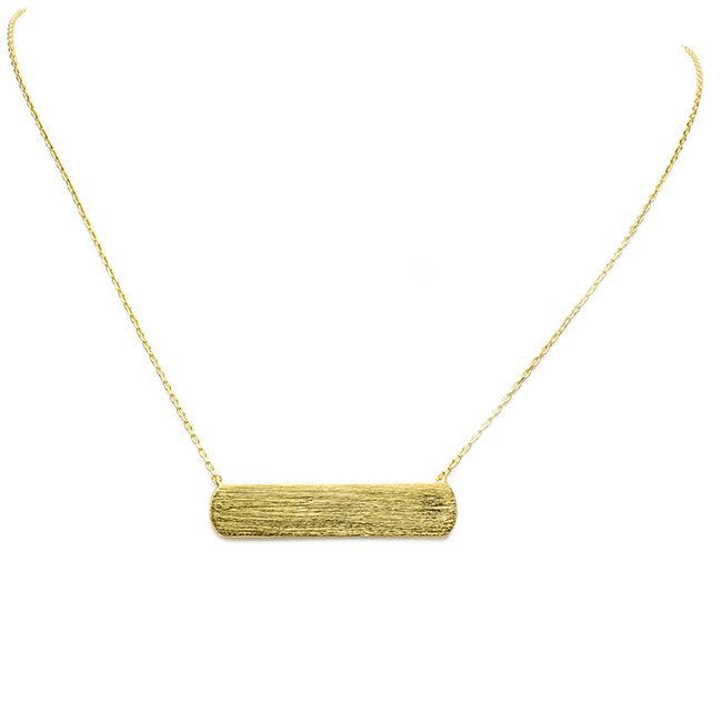 Brushed Gold Rectangle Bar Pendant Necklace