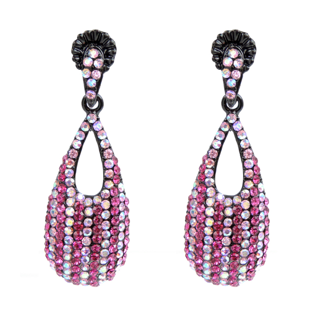Pink and Clear Crystal Studded Dangle Earrings