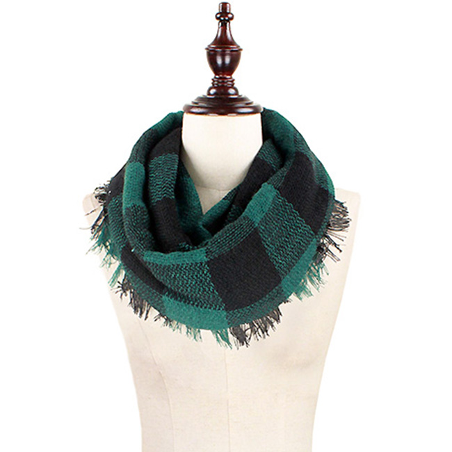 Plaid Woven Infinity Scarf