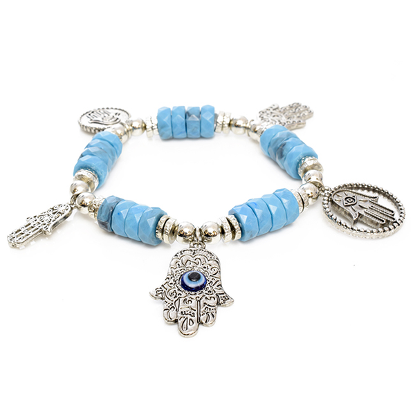 Beaded Stretch Bracelet with Silver Hamsa Charms
