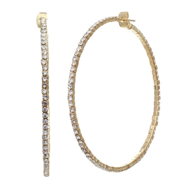 Gold Hoop Earrings with Clear Crystal
