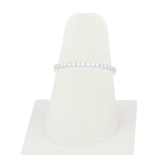 Silver Cubic Zirconia Studded Band Ring