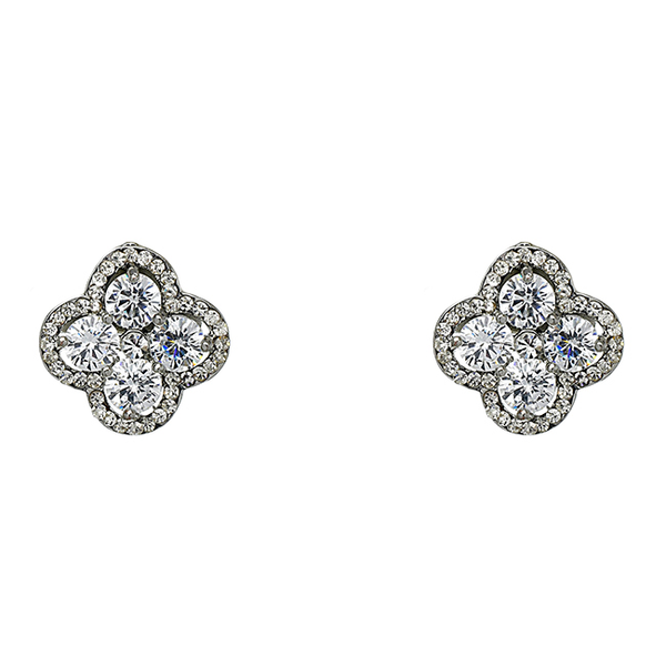 Silver Cubic Zirconia Studded Flower Earrings