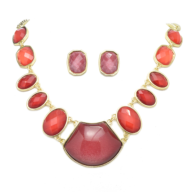 Gold and Red Necklace Set