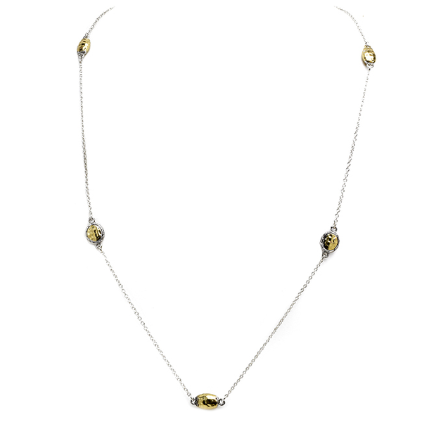 Two Tone Hammered Stations Necklace