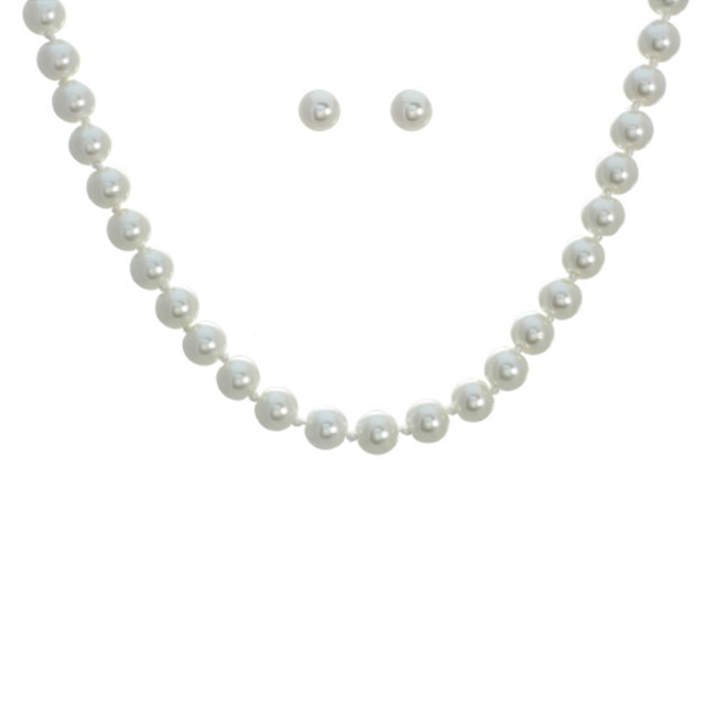 Pearl And Earrings Necklace Set