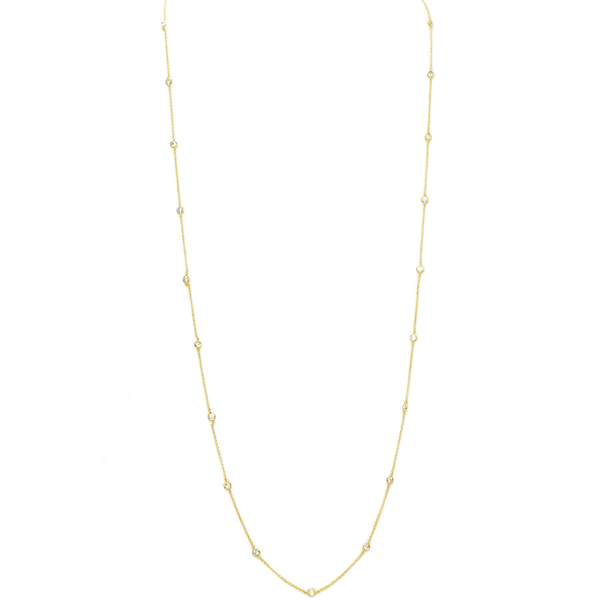 Gold Cubic Zirconia 4mm Station Necklace