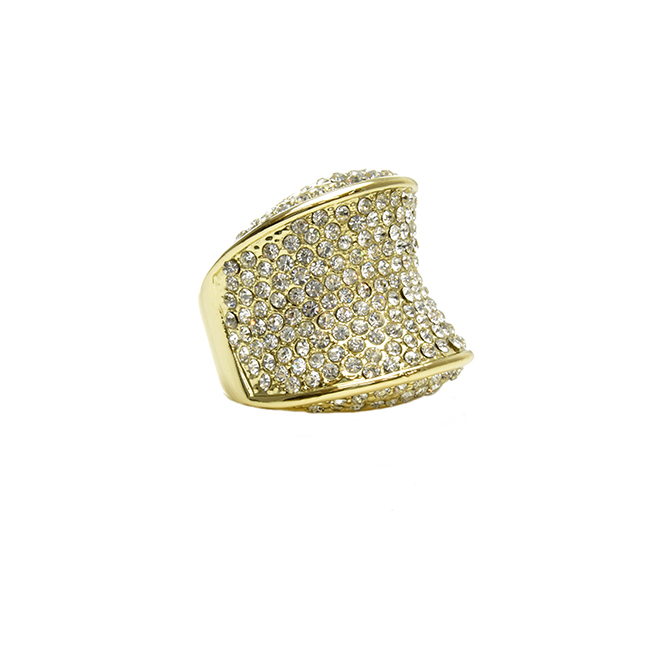 Gold Cubic Zirconia Studded Statement Ring