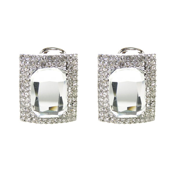 Silver Crystal Studded Square Clip On Earrings