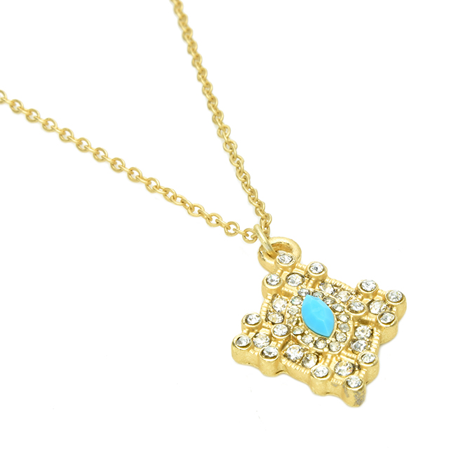 Matte Gold with Turquoise Pendant Necklace with Crystals