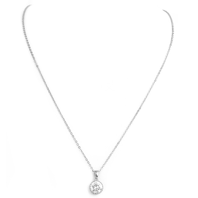 Silver Round Cubic Zirconia Pendant Necklace