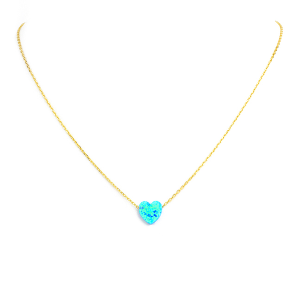 Sterling Silver Gold Plated Blue Opal Heart Pendant Necklace