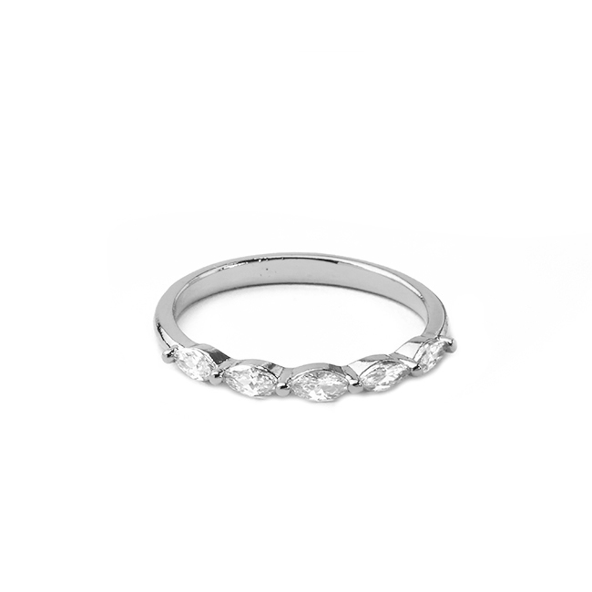 Silver Cubic Zirconia Band Ring