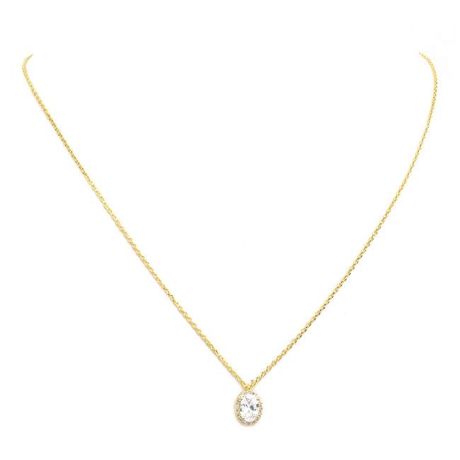 Gold Cubic Zirconia Oval Pendant Necklace
