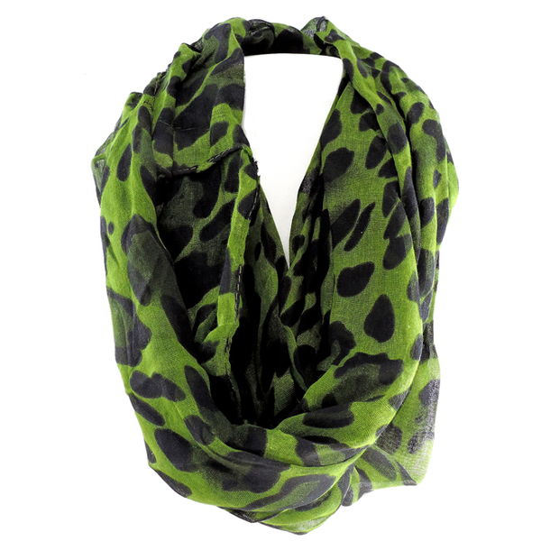Infinity Scarf with Animal Print Accents in Green
