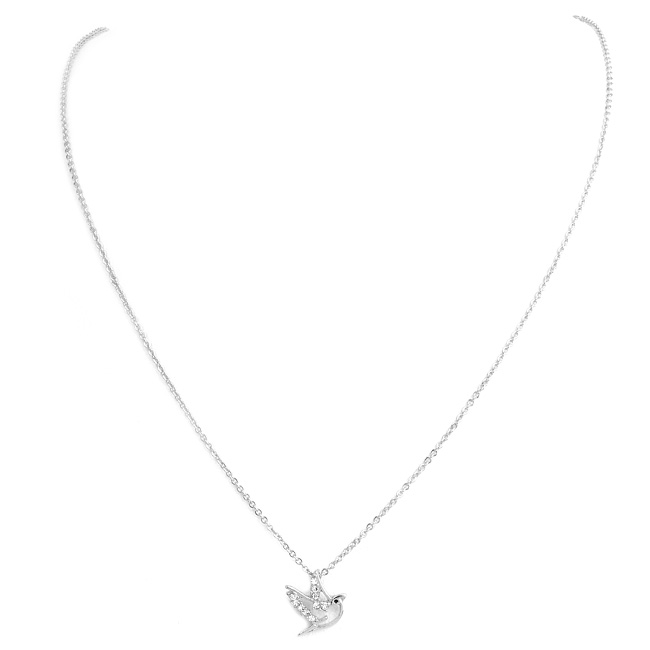 Silver and Crystal Dove Pendant Necklace