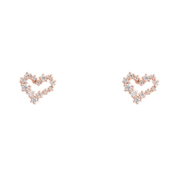 Rose Gold Cubic Zirconia Brass Open Heart Post Earrings