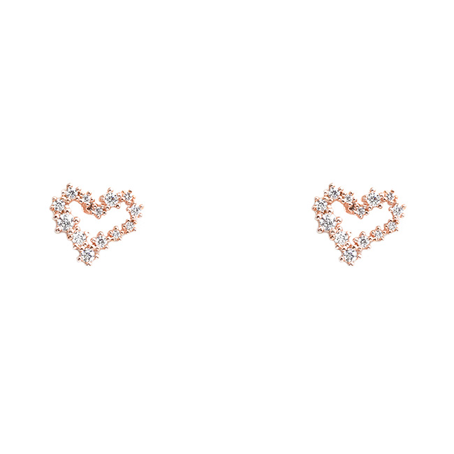Rose Gold Cubic Zirconia Open Heart Post Earrings