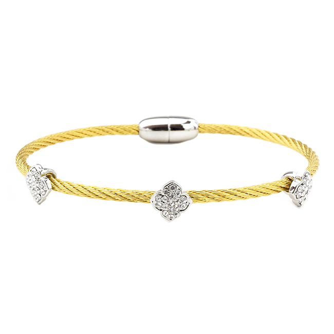 Two Tone Twisted Cable CZ Clover Magnetic Bracelet
